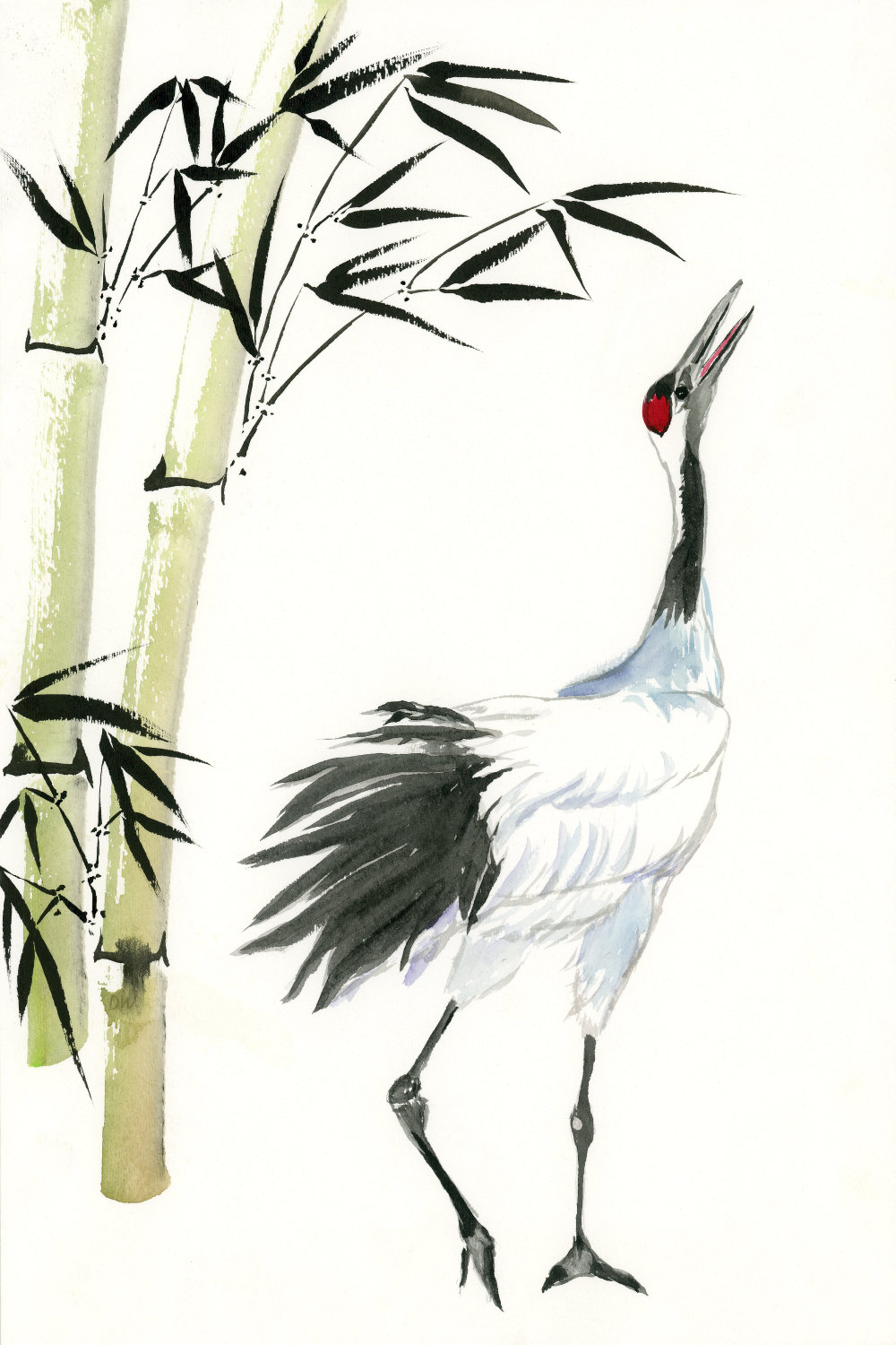 1000x1500 Fine Art Print Japanese Crane And Bamboo, Watercolor Painting