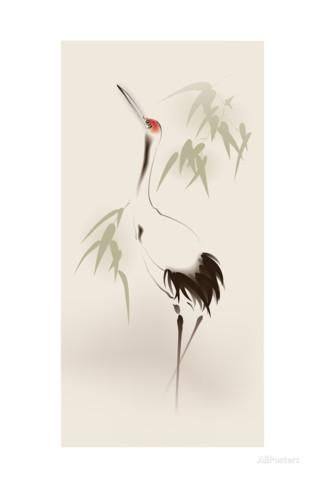 325x488 Oriental Style Painting, Red Crowned Crane Oriental Style