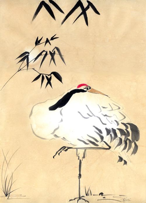500x692 Wild China Mcnart Artful Crane Chinese Brush