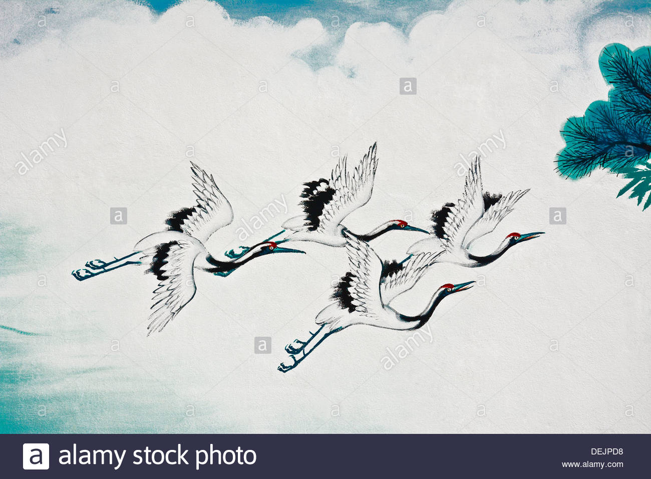1300x956 Flying Chinese Crane Bird Painting On The Wall Stock Photo