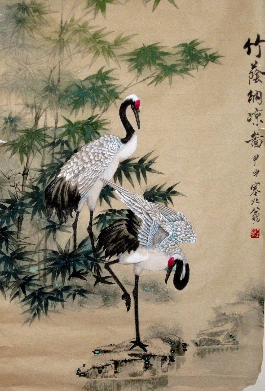 1000x1471 Japanese Crane Pencil Drawing