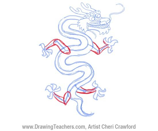 550x455 Chinese Dragon Drawing Step 5 Dragons Chinese