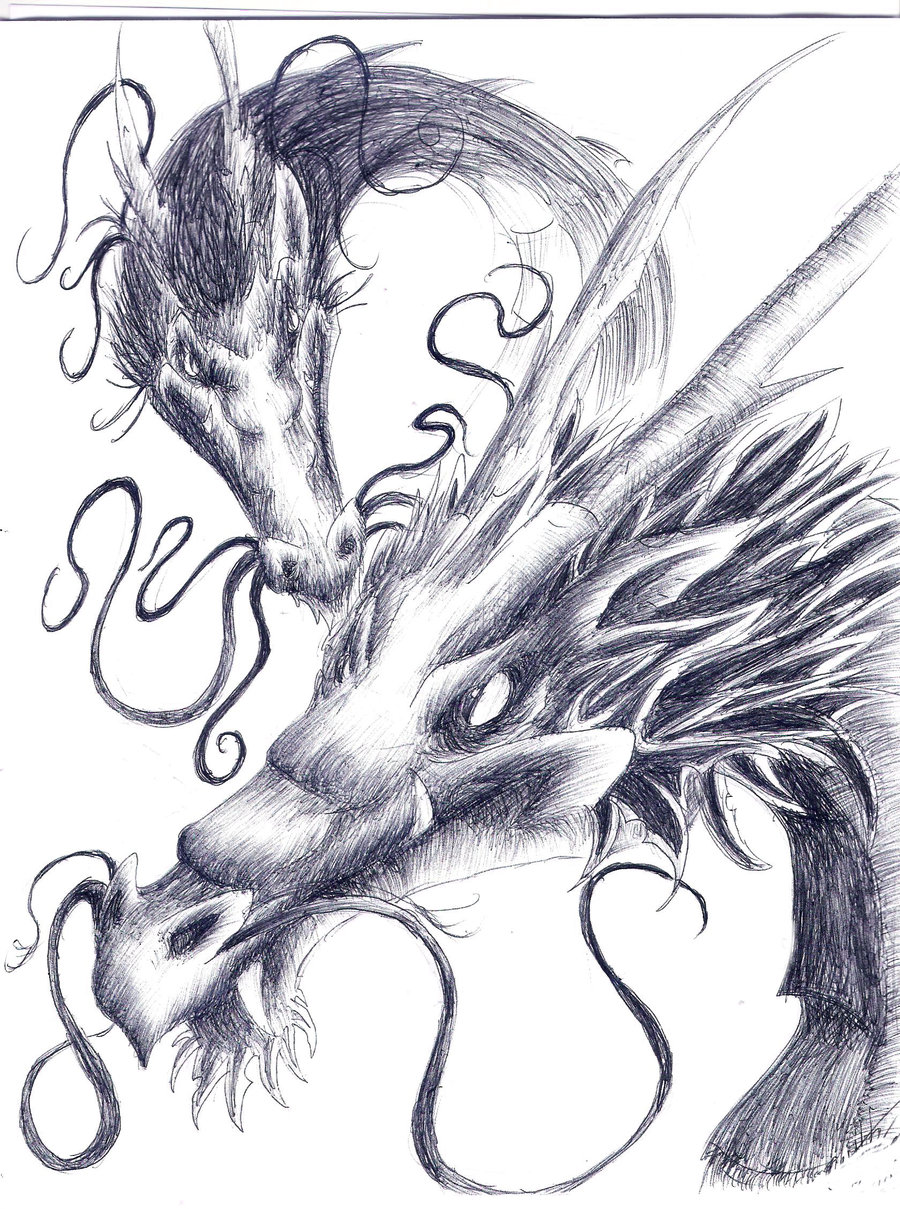 900x1209 Chinese Dragons Pen Drawing By Luxray Insanity