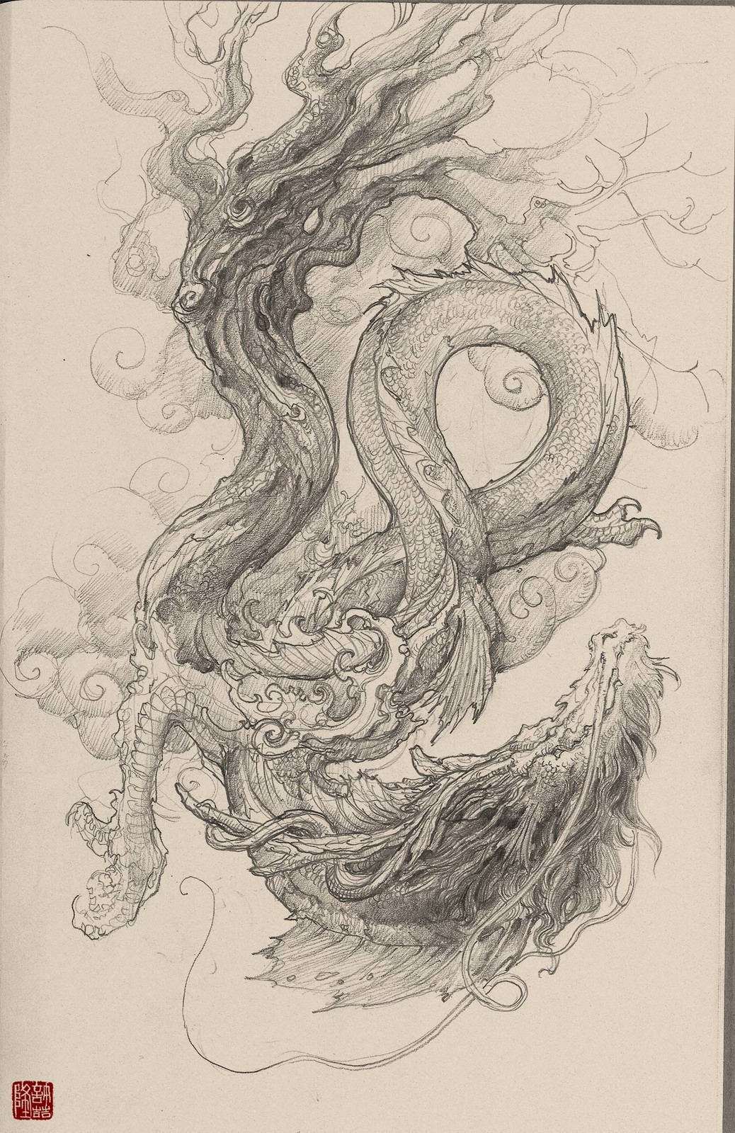 390494b66 Chinese Dragon Pencil Drawing at GetDrawings.com | Free for personal ...