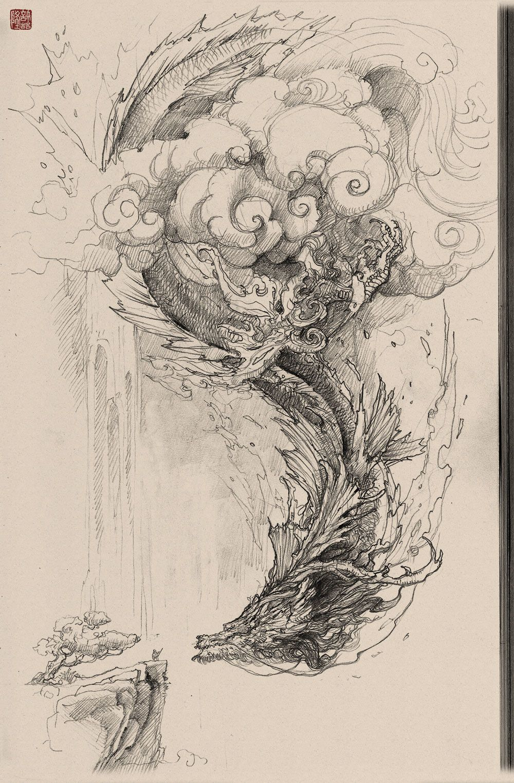 1000x1523 Chinese Dragon Pencil Drawing, Zhelong Xu On Artstation