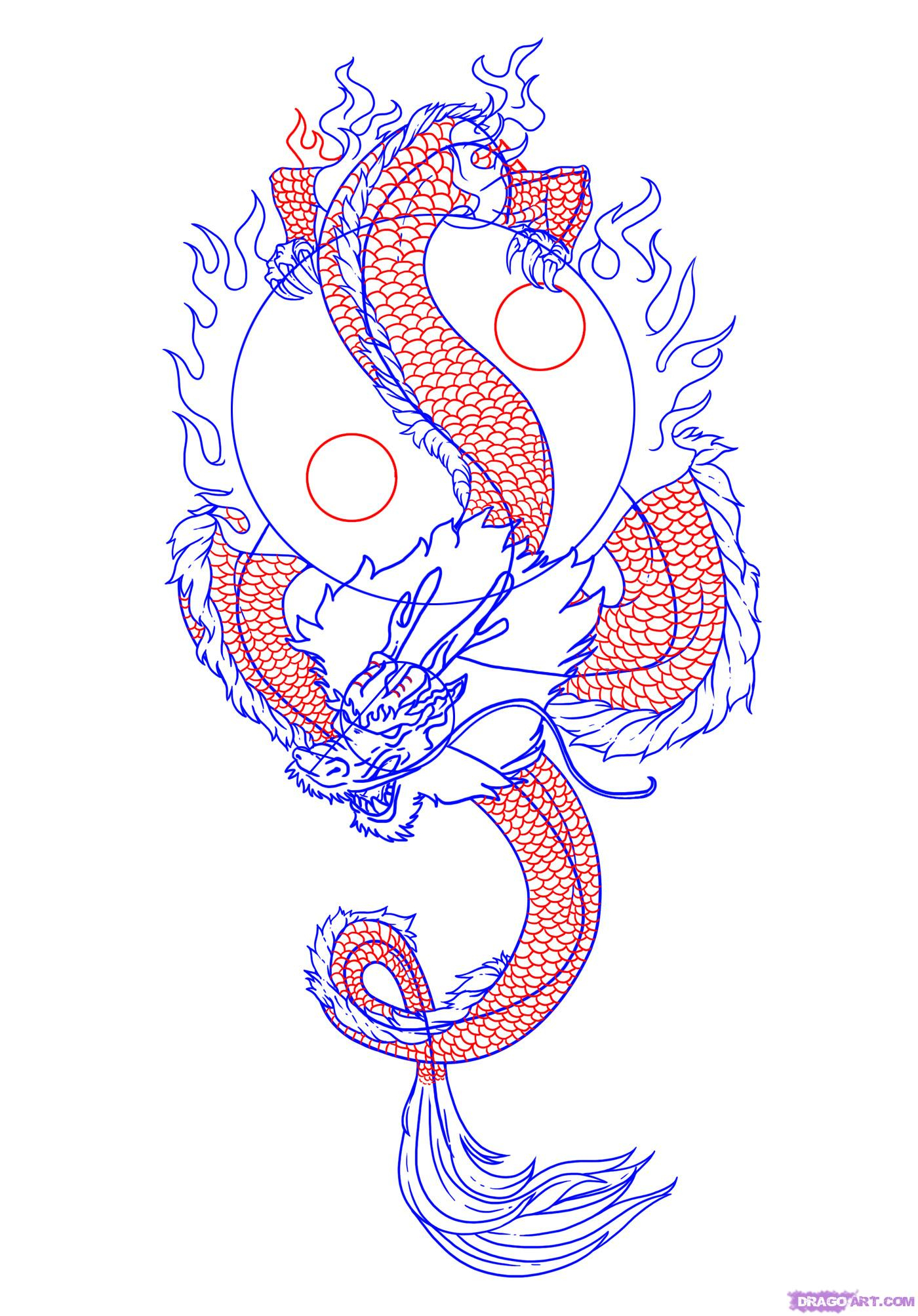 1400x2007 How To Draw Chinese Dragon Step By Step Drawn Chinese Dragon
