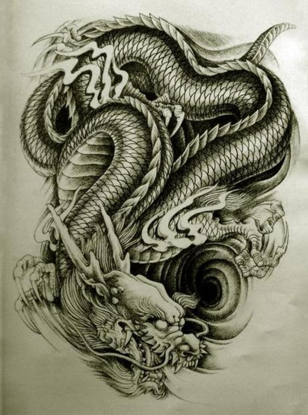 Chinese dragon tattoo drawing at free for Dragon tattoo drawings