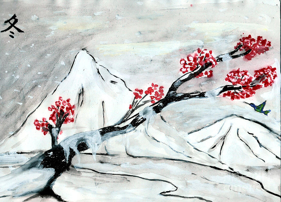 900x647 Chinese Brush Paint Winter Drawing By Shashi Kumar