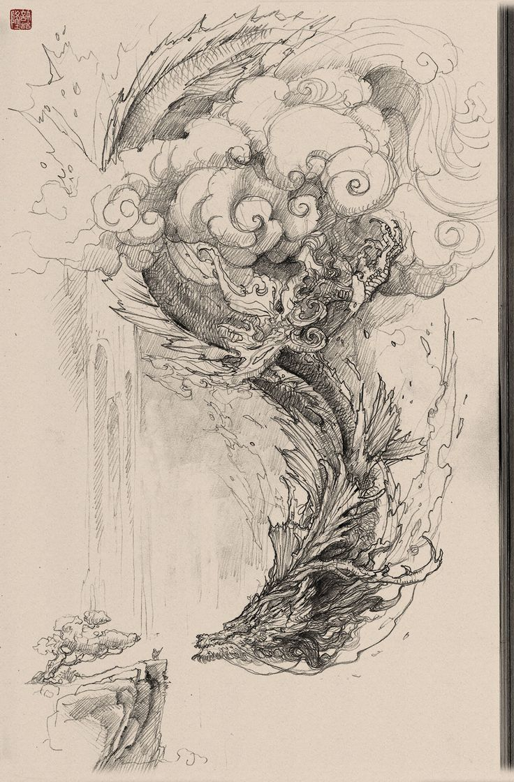736x1120 Pencil Sketch Of Simple Temple Best Chinese Dragon Drawing