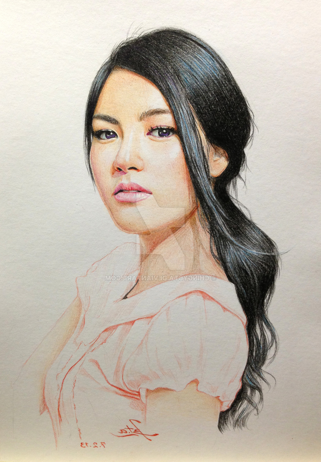1024x1474 Pencil Drawing Or Sketches Of A Chinese Girl Asian Girl By
