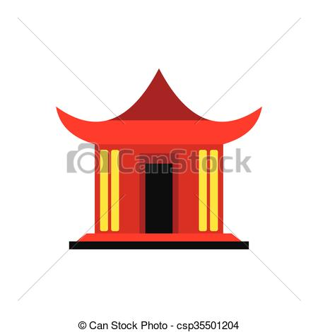 450x470 Traditional Chinese House Icon, Flat Style. Traditional Vector