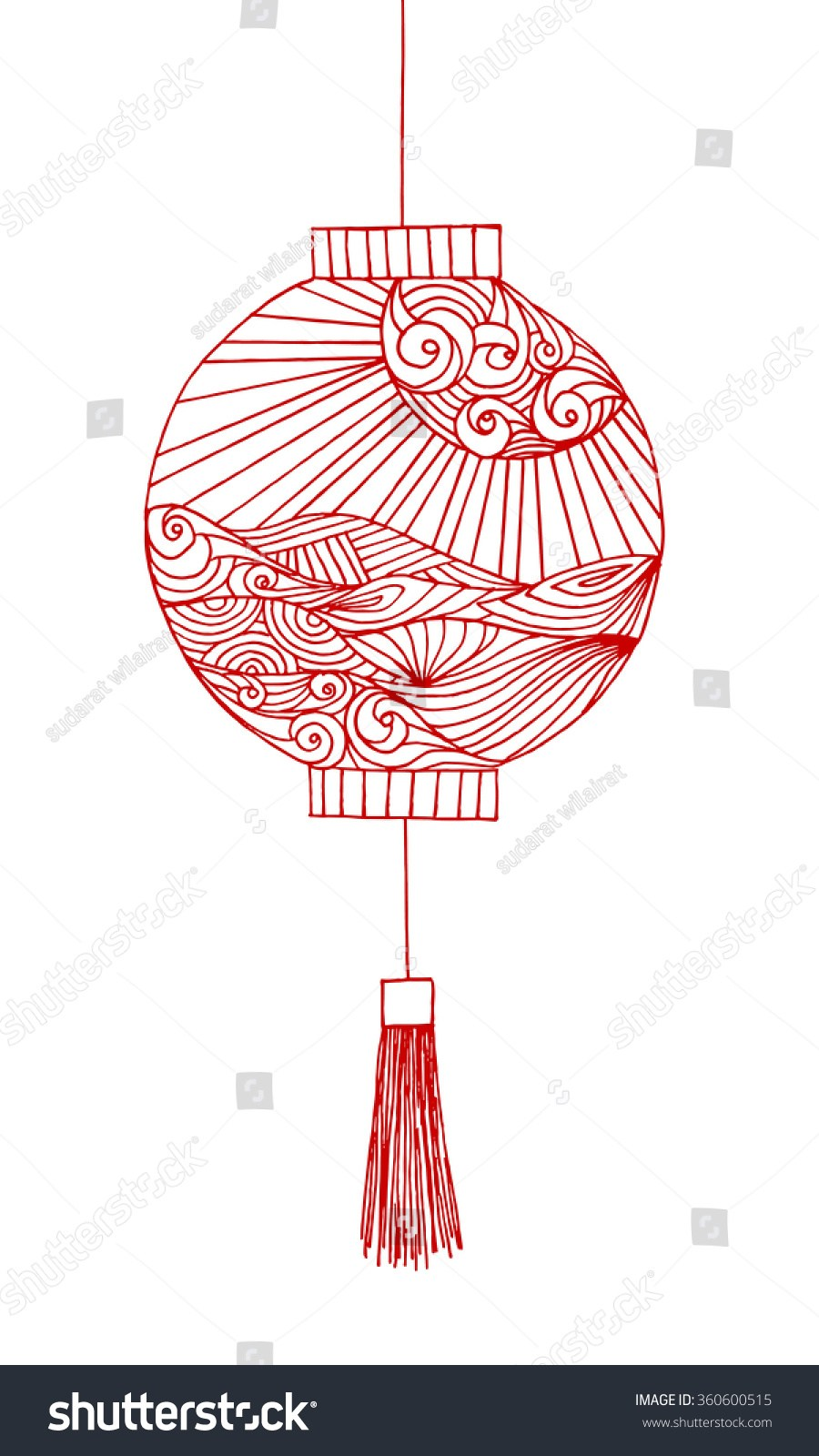 900x1600 Hand Drawing Chinese Lantern Japanese Lantern Stock Illustration