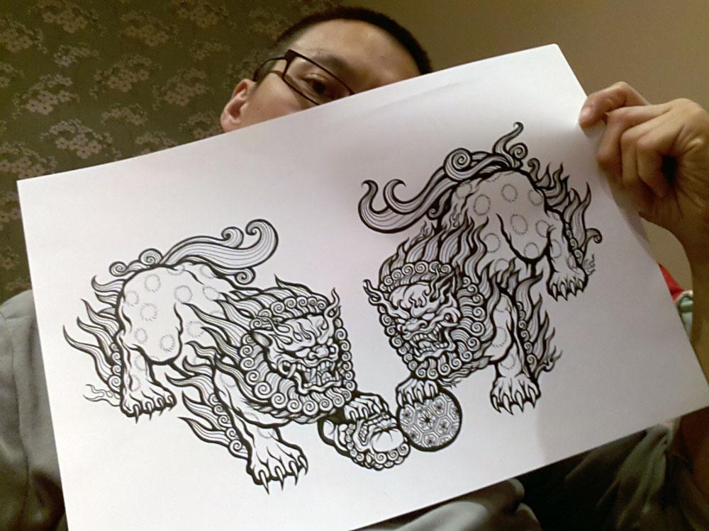 1000x750 Meerkatsu Art Chinese Lions