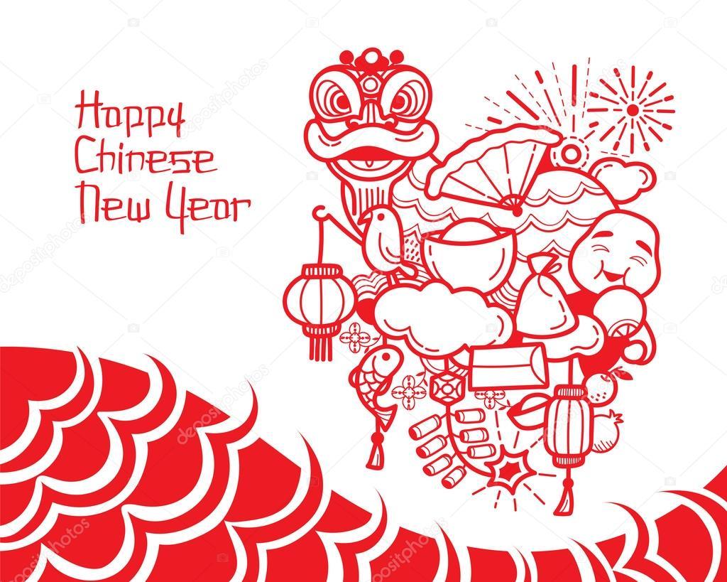 1024x819 Chinese New Year Drawing Stock Vector Matoommi