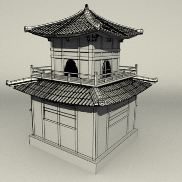 600x600 3d Model Traditional Chinese Temple Thap Temple