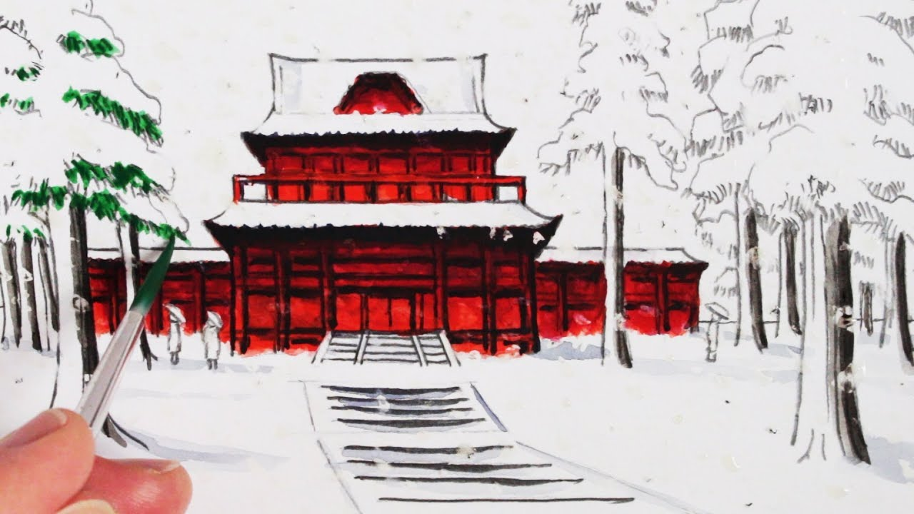 1280x720 How To Draw A Japanese Temple Building In The Snow