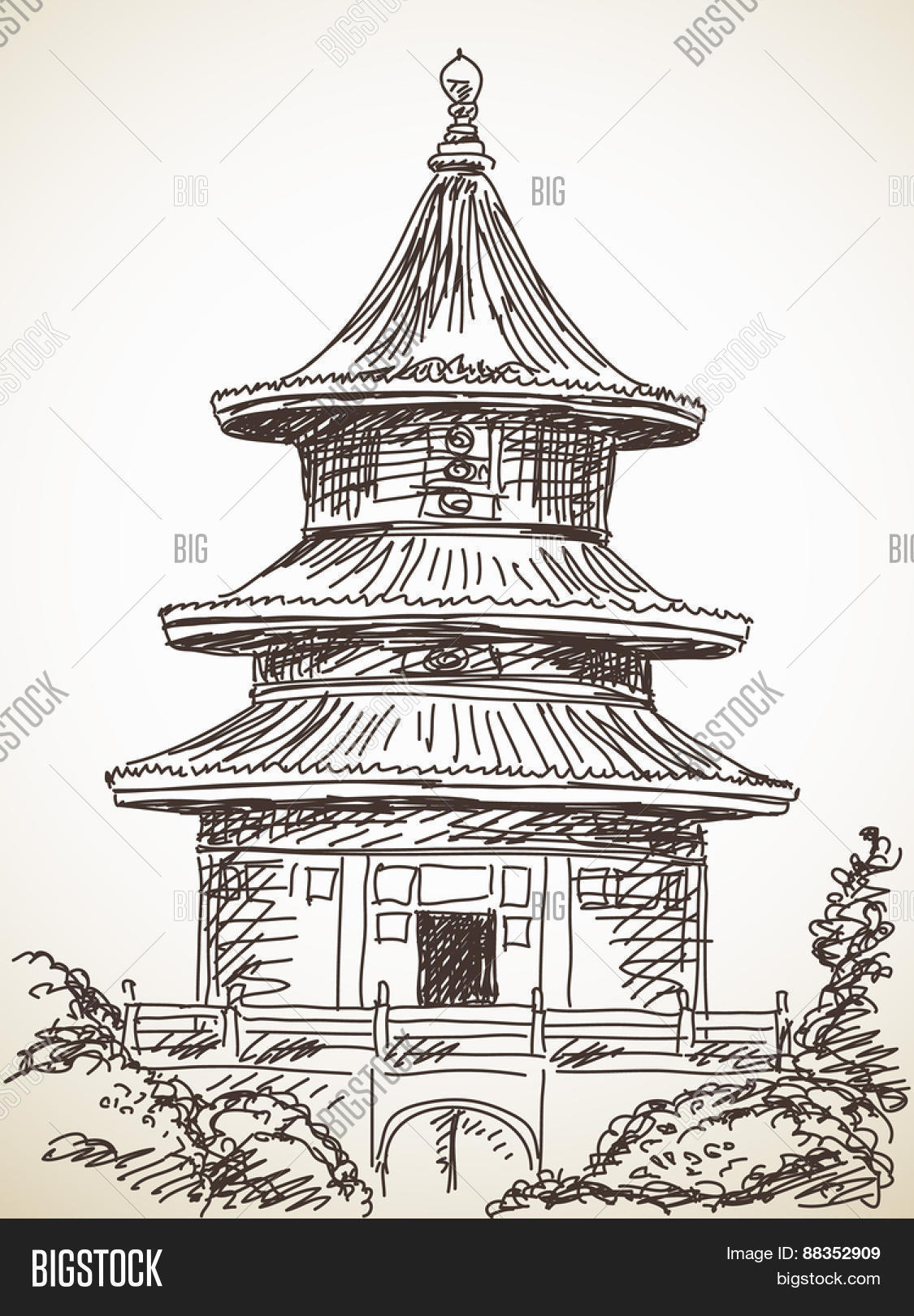 1125x1620 Sketch Chinese Style Temple Hand Vector Amp Photo Bigstock