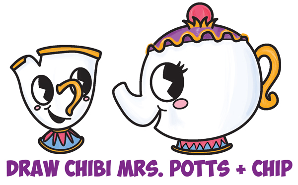 600x373 How To Draw Cute Kawaii Chibi Mrs. Potts And Chip From Beauty