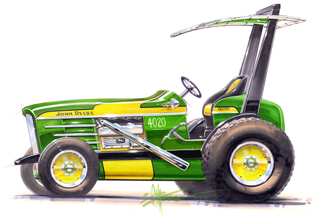 1050x743 Chip Foose Goes (John Deere) Green, Hot Rods A Tractor