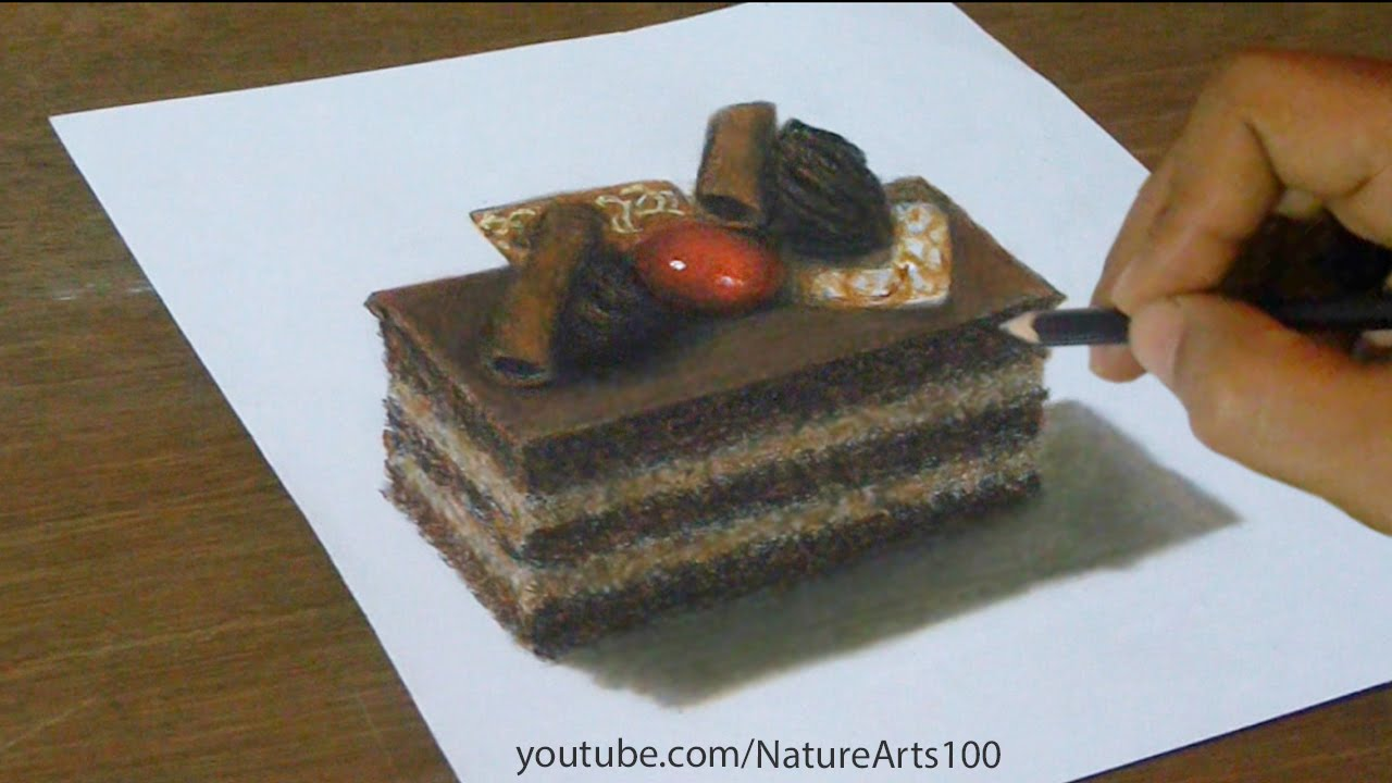 1280x720 3d Drawing Chocolate Cake, Trick Art, Optical Illusion