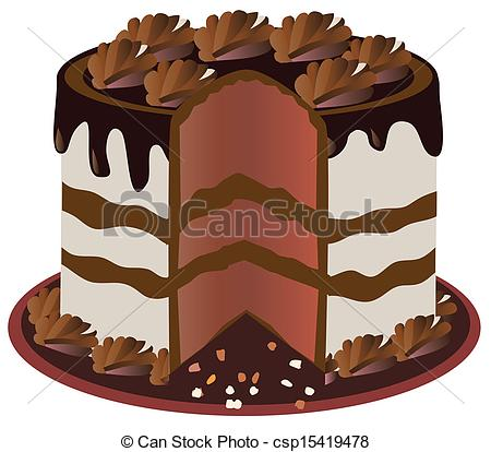 450x414 Chocolate Cake. Vector Cut Cake Vectors Illustration