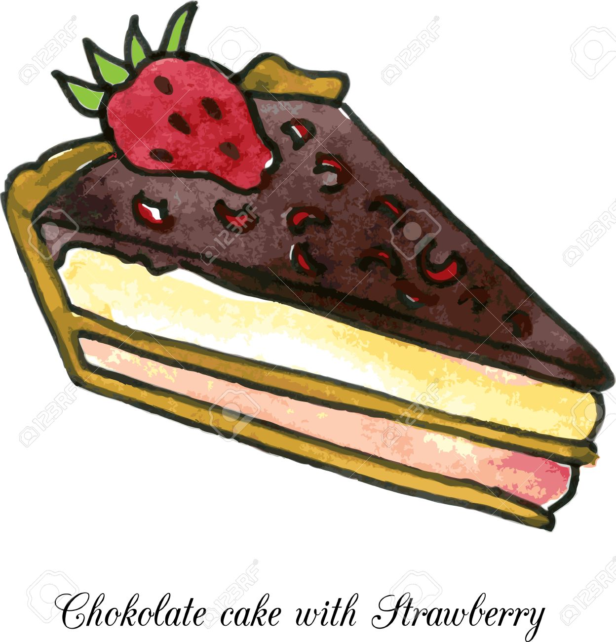 1248x1300 Pieces Of Chocolate Cake With Strawberry Drawing By Watercolor
