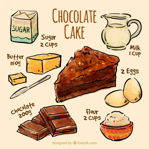 626x626 Sketches Chocolate Cake Recipe Vector Free Download