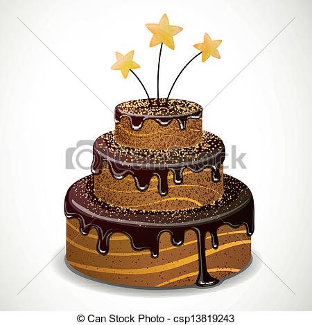 450x470 Vector Chocolate Cake. Vector Illustration Of A Sweet Eps