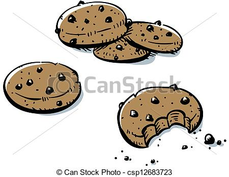 450x347 A Small Pile Of Cartoon, Chocolate Chip Cookies. Clip Art