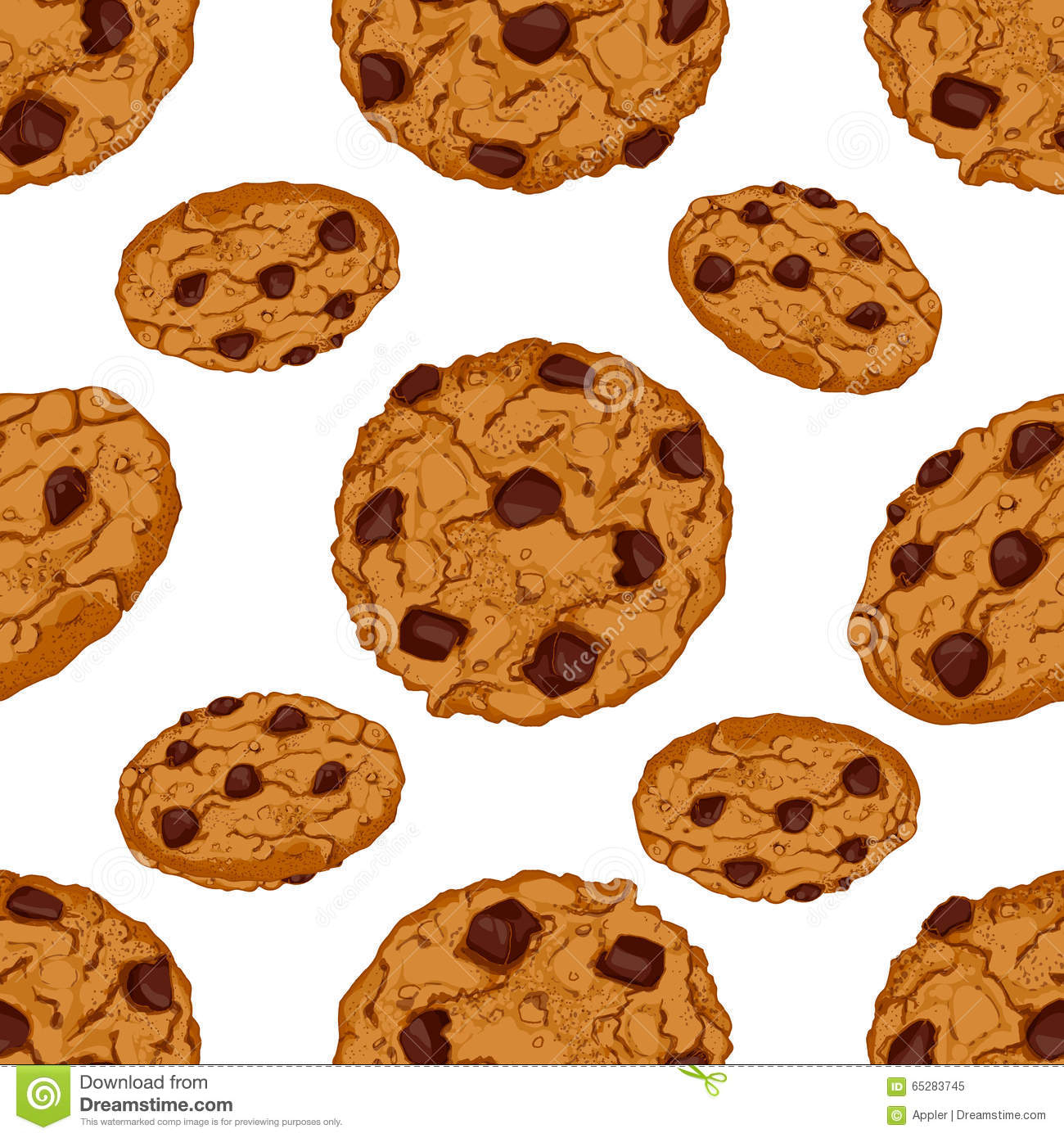 1300x1390 Chocolate Chip Cookie Drawing Seamless Pattern With Chocolate Chip