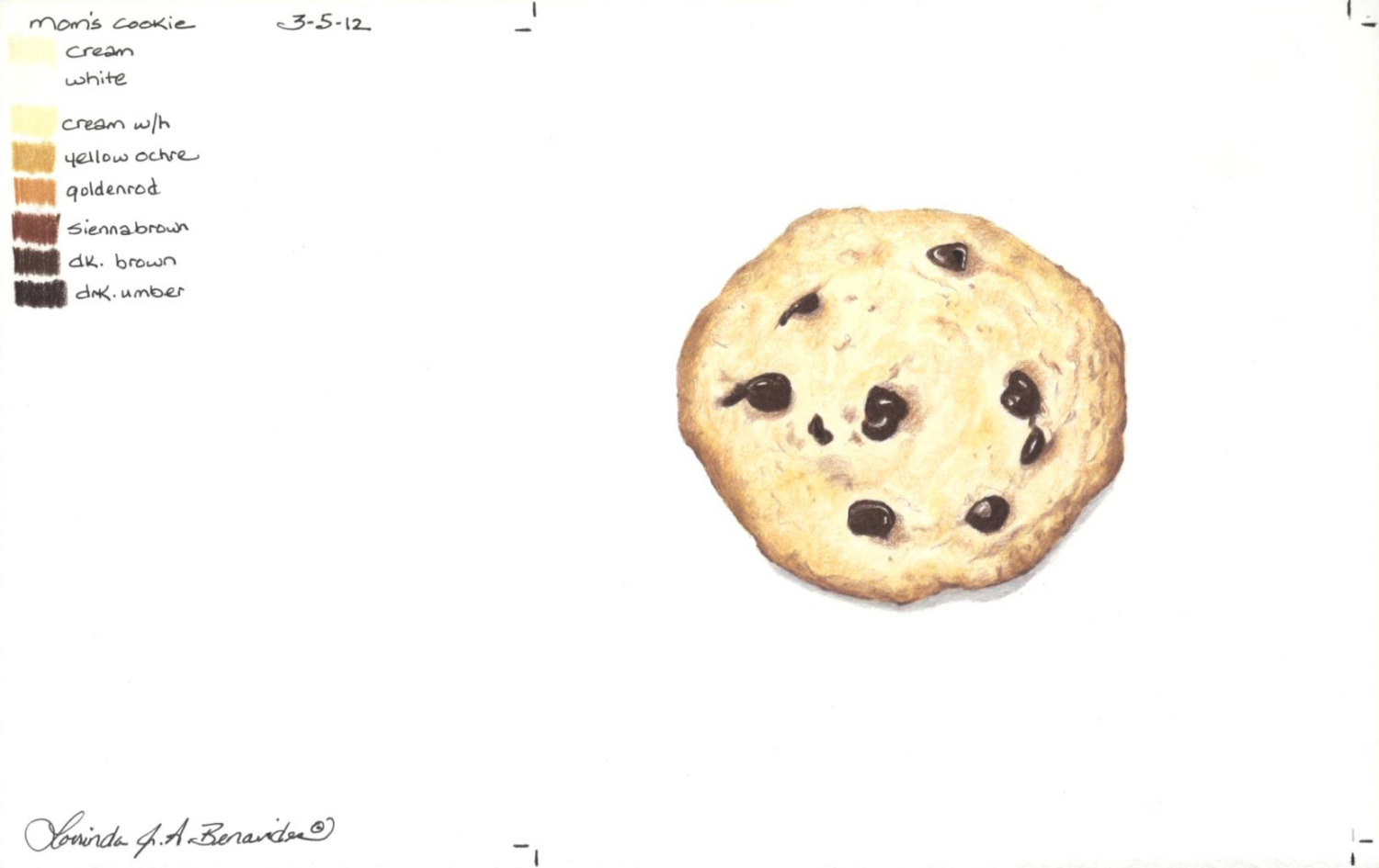 1500x945 Chocolate Chip Cookie Colored Pencil Print 6 12 X 6