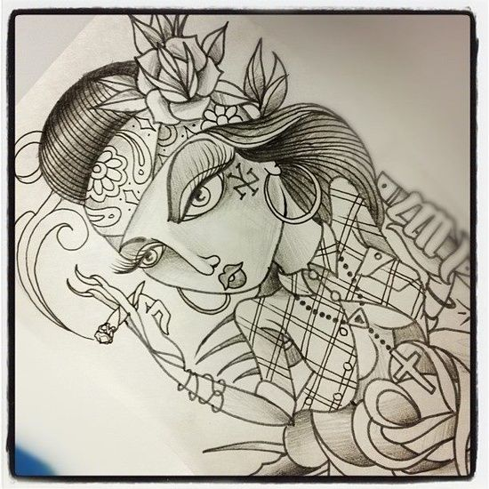 550x550 Chola Girl Arte Viva La Raza! Chola Girl, Chicano