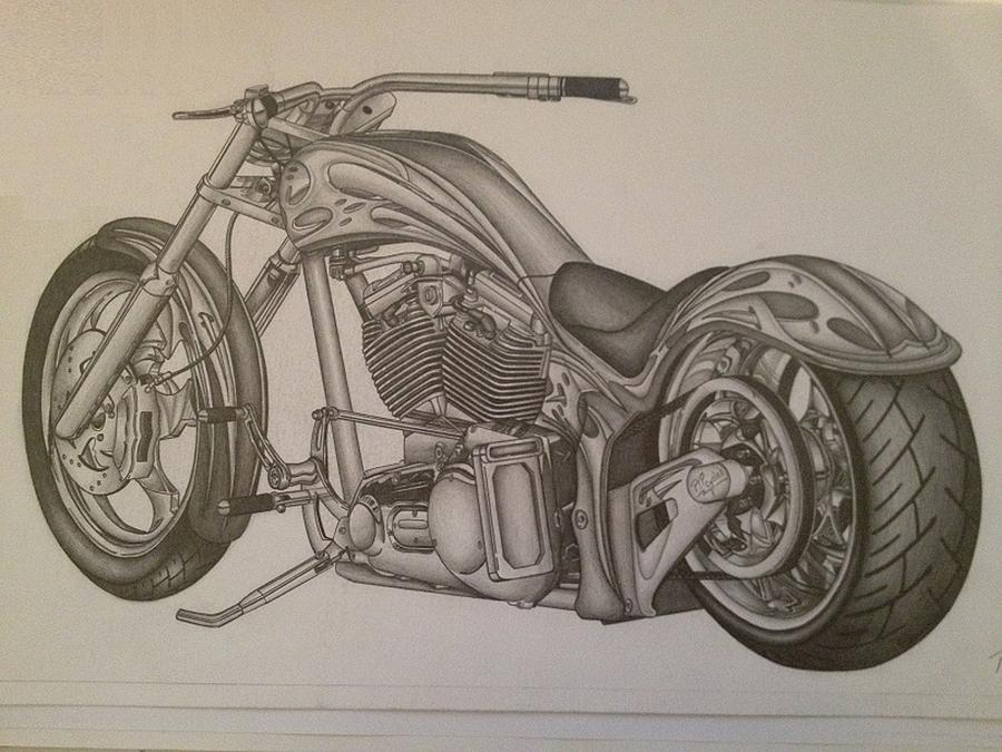 900x675 Custom Chopper Drawing By Peter Griffen