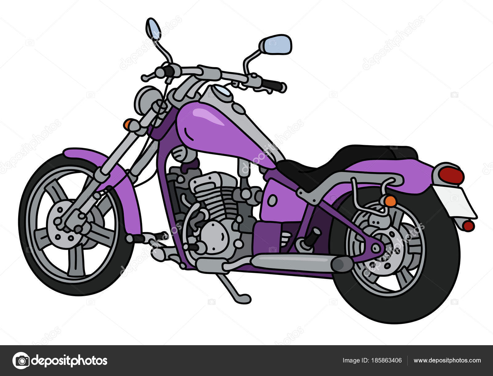 1600x1220 Hand Drawing Purple Heavy Chopper Stock Vector 2v