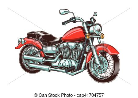 450x320 Vector Illustration Of Hand Drawn Vintage Motorcycle . Clipart