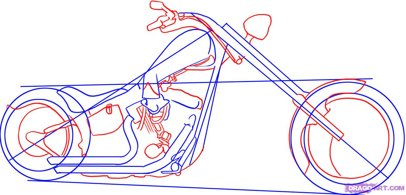 1297x623 How To Draw A Chopper Motorcycle Step 3 Drawing