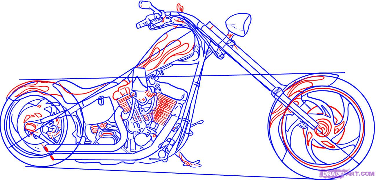 1297x623 How To Draw A Chopper Motorcycle Step 5 Drawing
