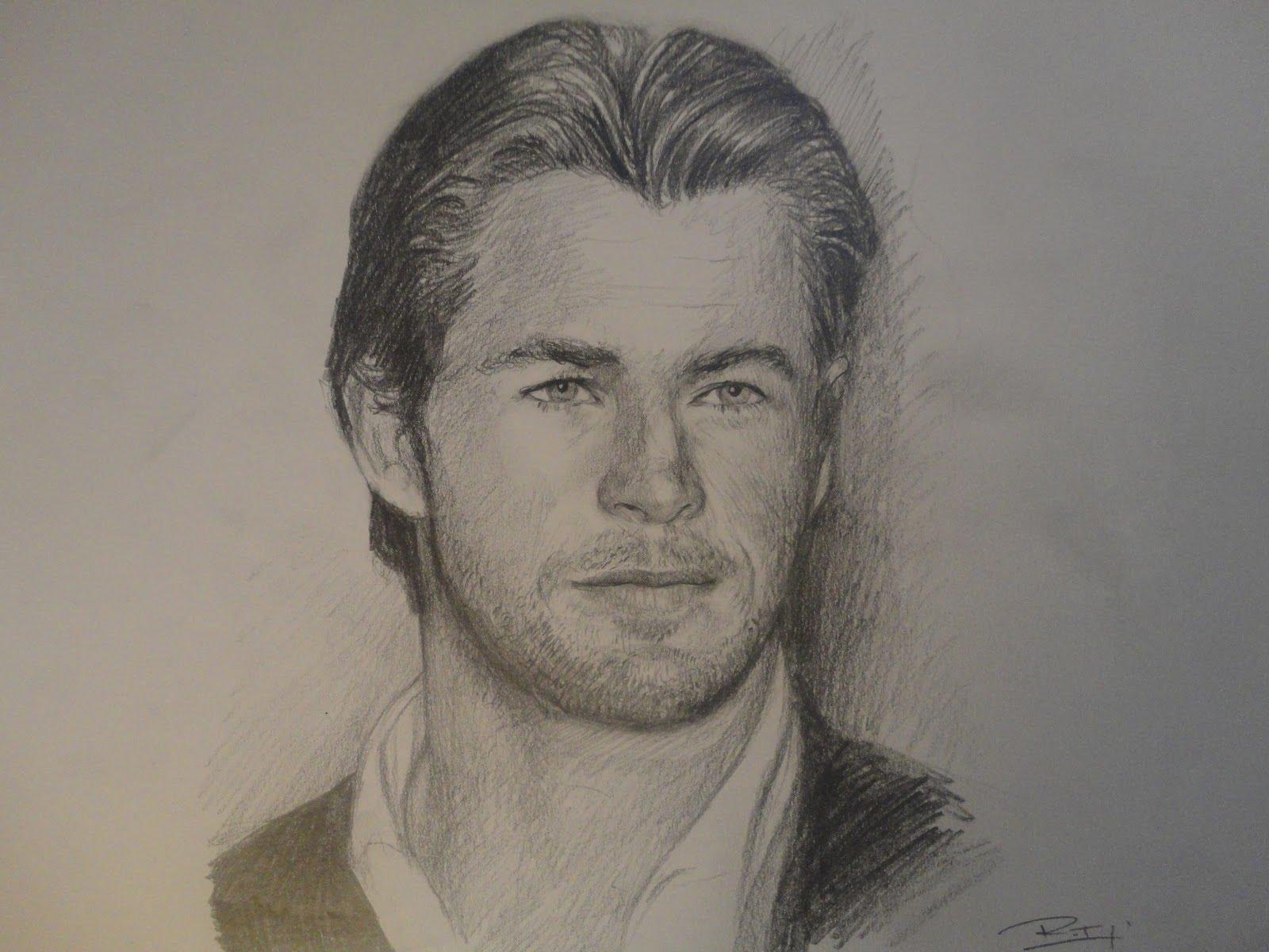 1600x1200 Chris Hemsworth Portrait Drawing