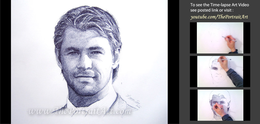 1024x490 Chris Hemsworth Drawing With Ball Point Pen By Theportraitart