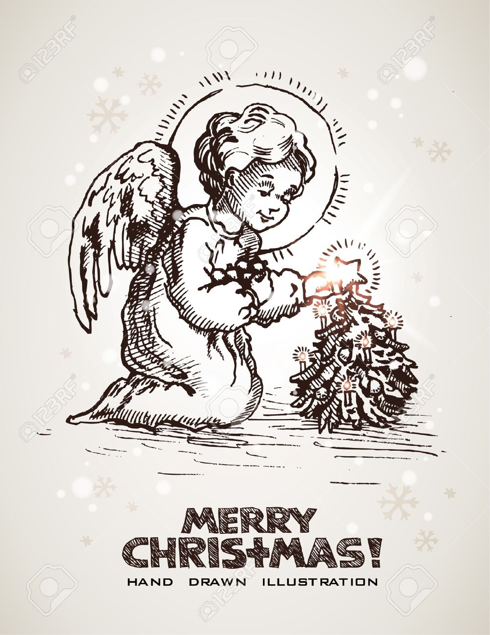 1003x1300 Hand Drawn Christmas And New Years Postcard With Cute Little