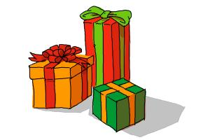 300x200 How To Draw Christmas Presents
