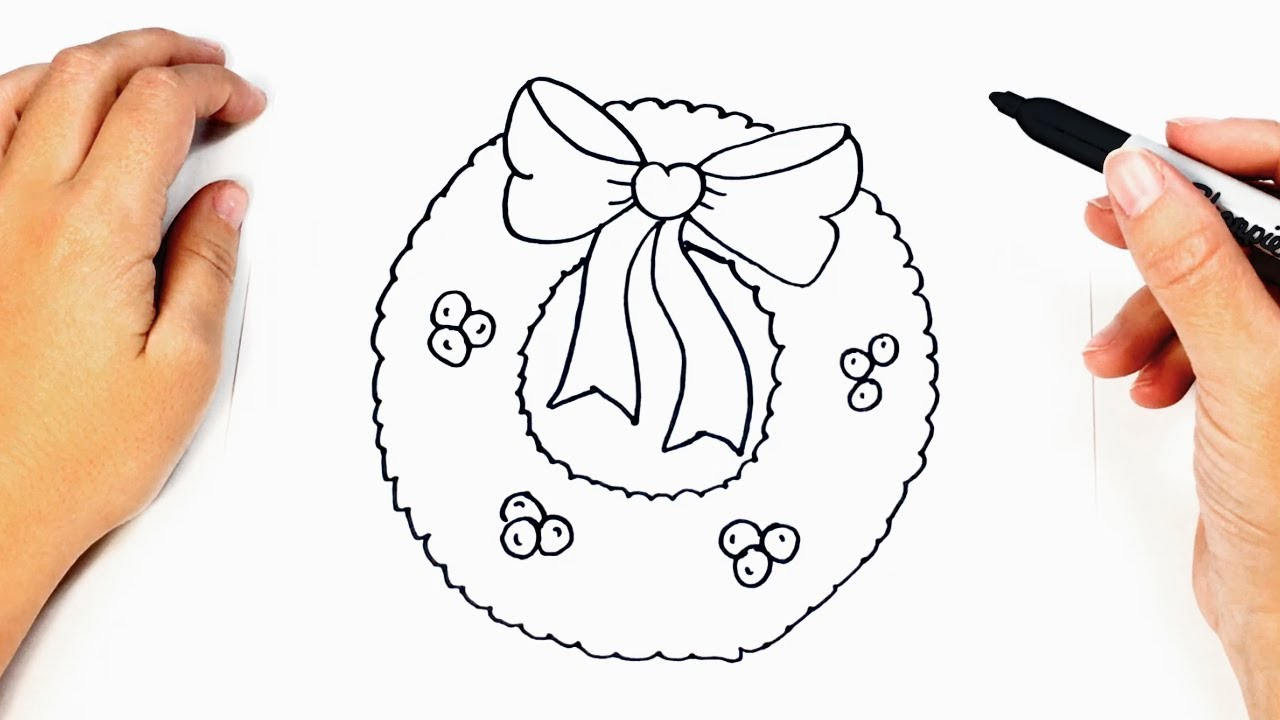 1280x720 How To Draw A Christmas Wreath Step By Step Drawings Tutorials