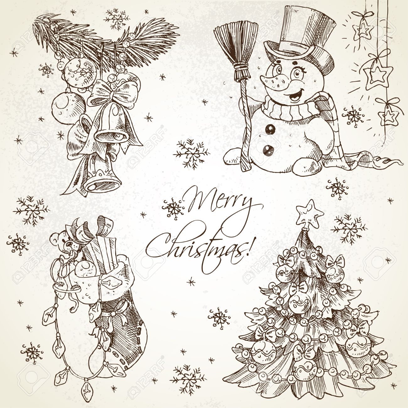 1300x1300 Merry Christmas Vintage Sketch Draw Set Royalty Free Cliparts