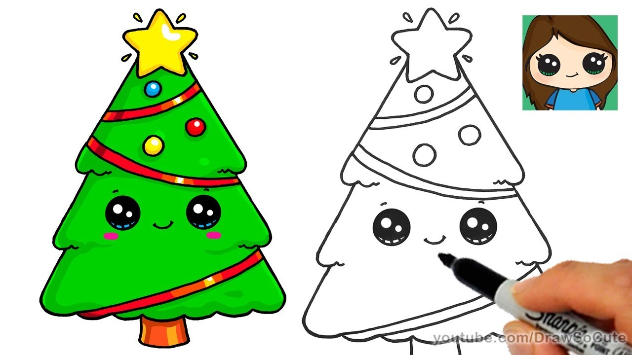 1280x720 How To Draw A Christmas Tree And Star Easy And Cute