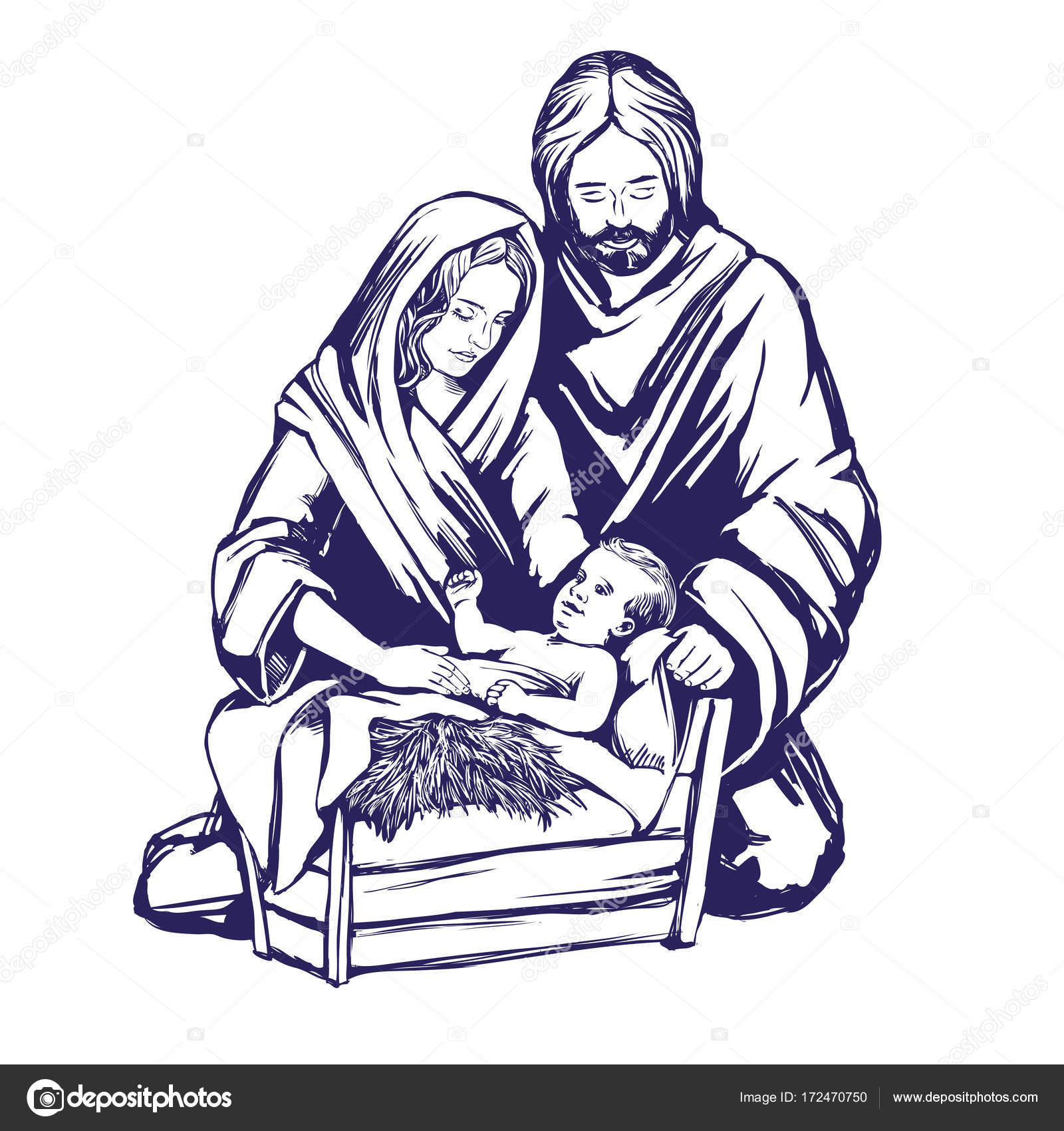 1600x1700 Christmas Story. Mary, Joseph And The Baby Jesus, Son Of God