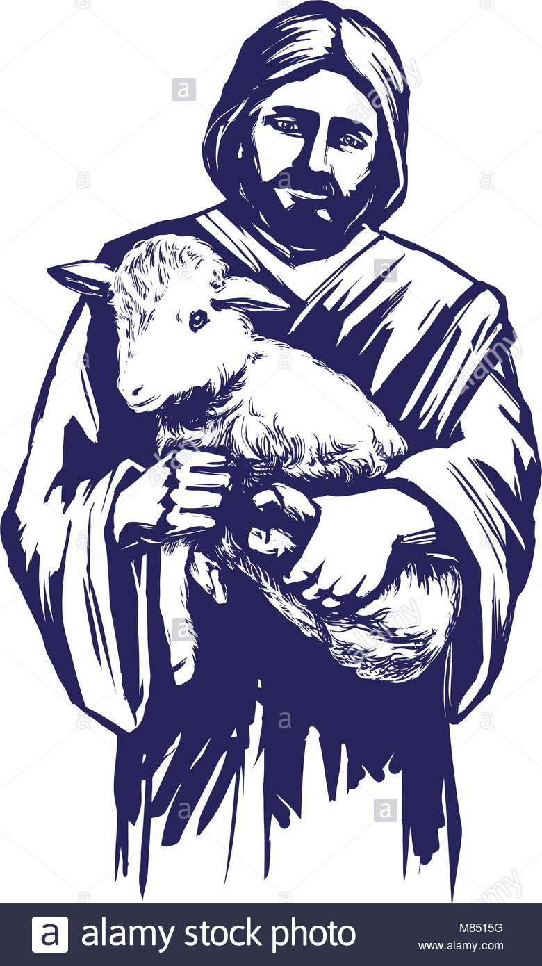 780x1390 Jesus Christ, Son God, Holding A Lamb In His Hands, Symbol