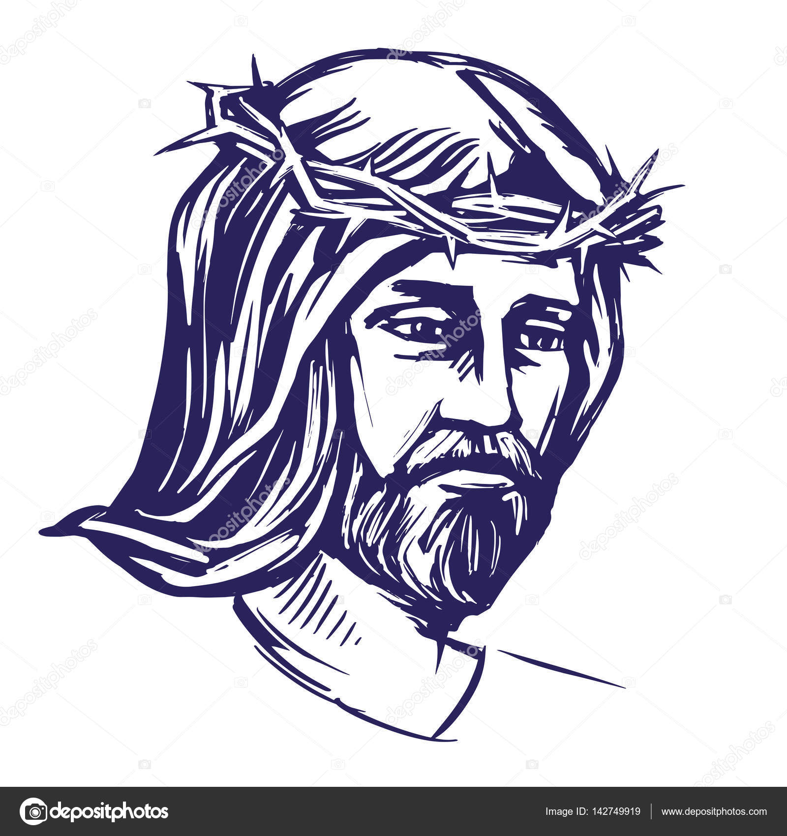 1600x1700 Jesus Christ, The Son Of God In Crown Of Thorns On His Head,