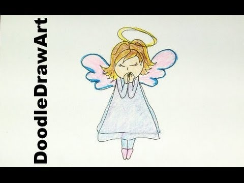 480x360 Drawing How To Draw Cartoon Angel Draw Angels For Christmas