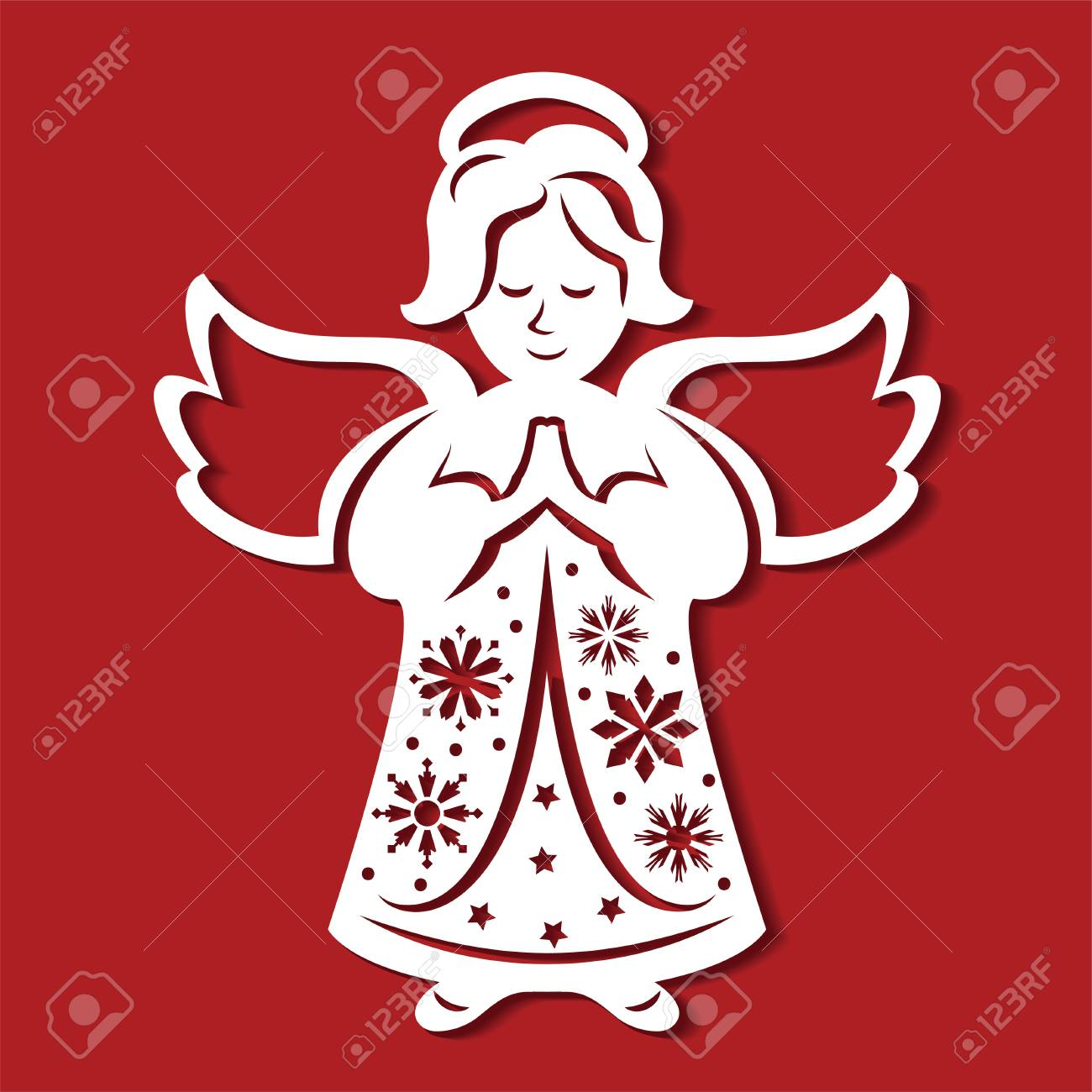 1300x1300 White Christmas Angel On The Red Background. Silhouette Of Angel