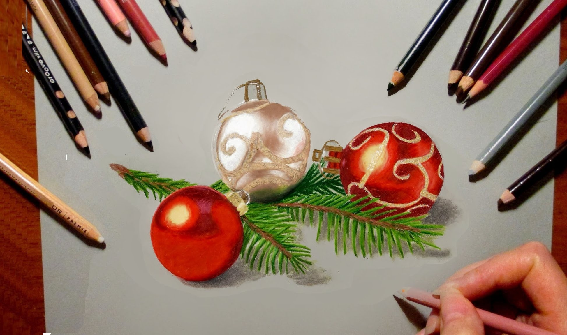 1946x1150 Colored Pencil Drawing Christmas Tree Decorations